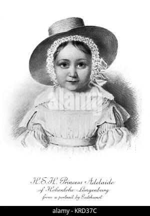 Princess Adelheid (Adelaide) of Hohenlohe-Langenburg (1835-1900), niece of Queen Victoria being the daughter of - Stock Photo
