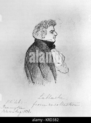 Luigi Lablache (1794-1858), Italian bass opera singer sketched from recollection by Princess Victoria in 1836.  - Stock Photo