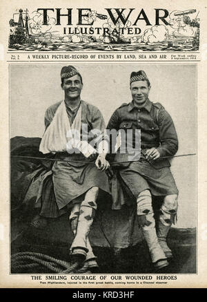 Two smiling Highlanders regIment injured in the the first great battle, on Folkstone  boat on hie way home.     - Stock Photo