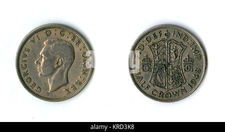 British coin, a George VI half crown (two shillings and sixpence, or 30 pennies).       Date: 1948 - Stock Photo