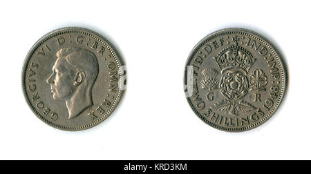 British coin, a George VI florin (two shillings).      Date: 1948 - Stock Photo
