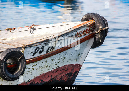 Detail of a fishing boat's bow in in Paracas, Peru - Stock Photo