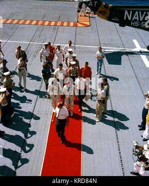 Gemini 5 - Cooper and Conrad red carpet aboard USS Lake Champlain - S65-45292 - Stock Photo