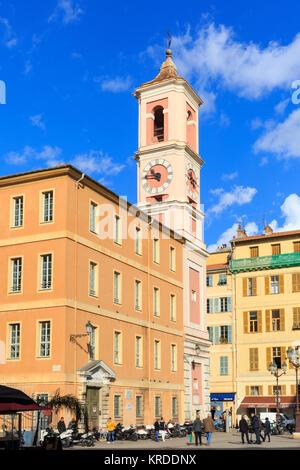 Tour de l'Horloge tower, historic landmark on Place du Palais de Justice in the old town, Vieille Ville, Nice, French - Stock Photo