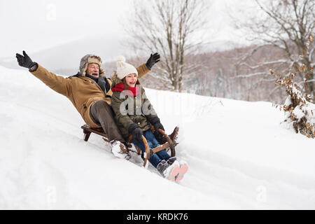 Grandfather and small girl sledging on a winter day. - Stock Photo