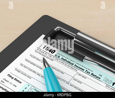 3d rendering of 1040 individual income tax return form  lying on desk - Stock Photo