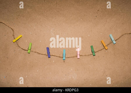 Set of colour clothespins. - Stock Photo