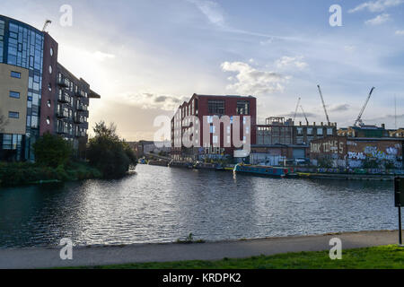 Hackney Wick London UK October 2017 - Canals around the Fish Island development - Stock Photo