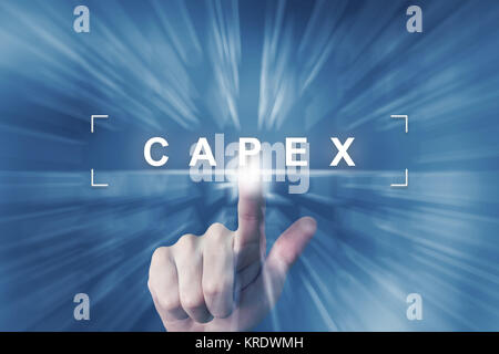 hand clicking on capex or capital expenditure button - Stock Photo