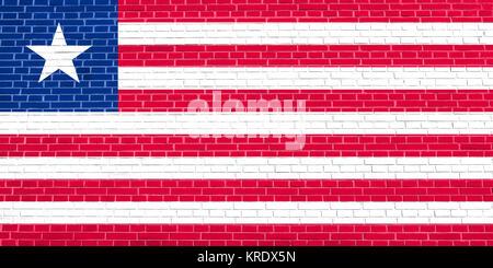 Flag of Liberia on brick wall texture background - Stock Photo