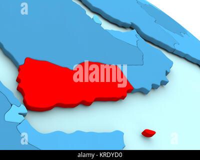 Yemen in red on blue globe - Stock Photo