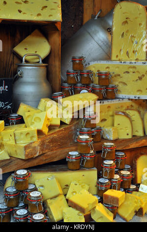 A selection f different cheeses with chutneys and pickles and milk churns on wooden shelves on a cheese market stall - Stock Photo