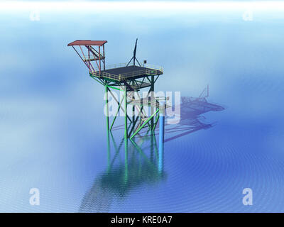 scaffolding a borinsel in the sea - Stock Photo