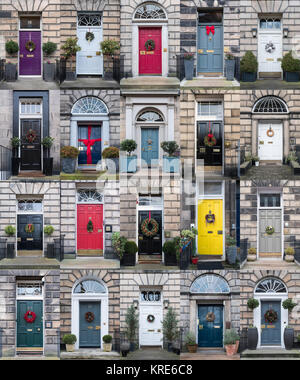 Collage of many houses with front doors decorated at Christmas in the New Town of Edinburgh , Scotland, United Kingdom - Stock Photo