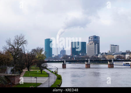 Frankfurt, Germany. River Main view.Untermainbrücke bridge,Westhafen Tower,IG Metall offices,Union Investment Building,Hotel - Stock Photo