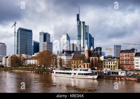 Frankfurt, Germany,Commerzbank High-rise skyscraper,Taunus Tower,St Leonhard's Church.Old & new buildings,modern - Stock Photo