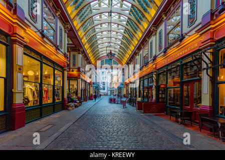 LONDON, UNITED KINGDOM - NOVEMBER 06: View of Leadenhall Market, a famous shopping arcade with traditional British - Stock Photo