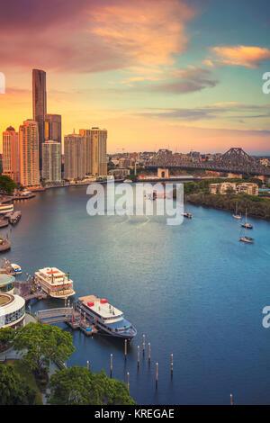 Brisbane. Cityscape image of Brisbane skyline, Australia during dramatic sunset. - Stock Photo
