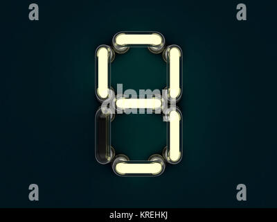 Neon tube number on dark background. 3D rendering - Stock Photo