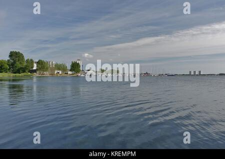 fehmarn island,view from deichweg on the burger lake - Stock Photo