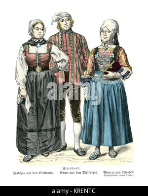 Vintage engraving of Traditional of Costumes. Man and woman of  Friesland, 19th Century - Stock Photo