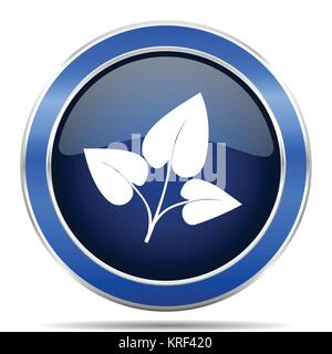 Leaf blue silver metallic round glossy vector icon. Modern design web and mobile applications button in eps 10 - Stock Photo