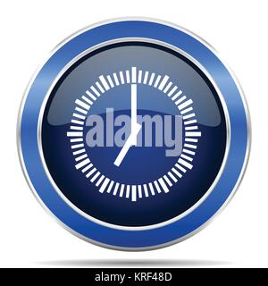 Time blue silver metallic round glossy vector icon. Modern design web and mobile applications button in eps 10 - Stock Photo
