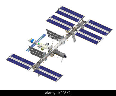 ISS after STS-120 (computer rendering of August 2006) - Stock Photo