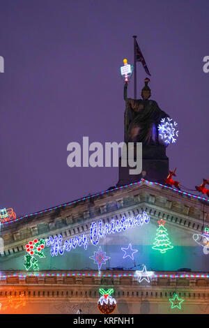 London, UK. 20th Dec, 2017. The Tate Britain building decorated with Christmas lights. Photo date: Wednesday, December - Stock Photo