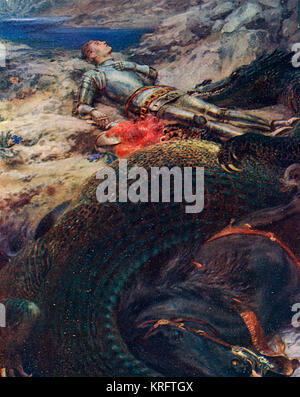 St. George lying prone and perhaps thanking some higher deity for helping him slay the dragon, the remains of which - Stock Photo