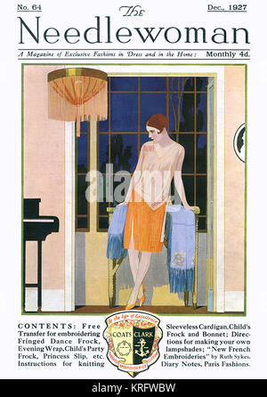 Illustration showing a woman in a fringed flapper dress standing pensively against a window.  Her dress rather nicely - Stock Photo