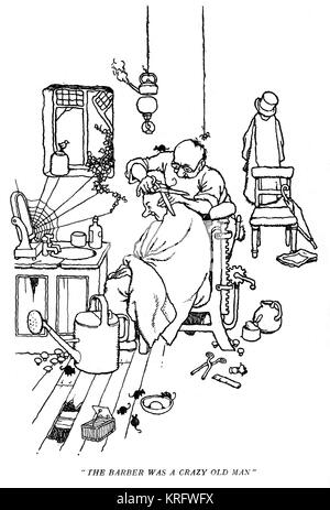 Uncle Lubin's Holiday, illustration by William Heath Robinson (1940s, unfinished) -- The barber was a crazy old - Stock Photo