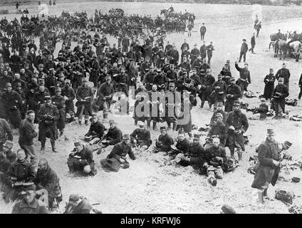 Belgian infantry enjoying a well earned rest in the fields having been driven back the Germans at Haelen in the - Stock Photo