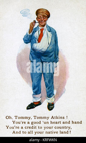 A wounded but jolly looking British Tommy smoking a pipe.  With his arm in a sling, he is wearing the blue uniform - Stock Photo