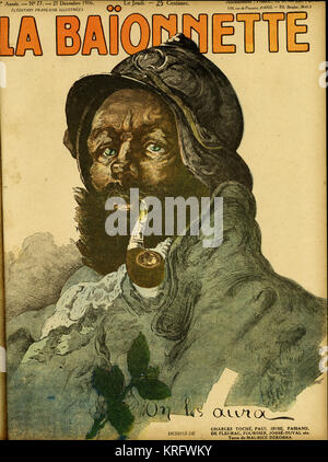 Front cover design for La Baionnette, with a portrait of a typical French soldier and the caption 'We'll get them' - Stock Photo
