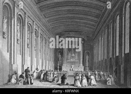 Interior, Church of the Carmelite Friary, Dublin, Ireland, with a service in progress.      Date: circa 1832 - Stock Photo