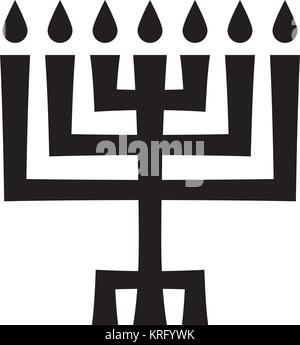Menorah (ancient Hebrew seven-candleholder), sacred candelabrum with seven lamps, used in The Temple in Jerusalem. - Stock Photo