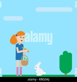 Cute cartoon child girl character is feeding her tame pet white rabbit - Stock Photo