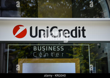 Milan, Italy - September 24, 2017:  Unicredit bank in Milan - Stock Photo