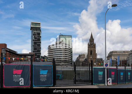 Liverpool city centre including Liverpool Cruise Terminal, Unity building, Mercure Hotel and The Church of Our Lady - Stock Photo