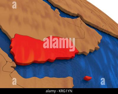 Yemen on wooden globe - Stock Photo