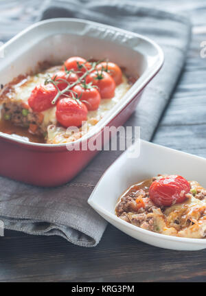 Mozzarella meat pie - Stock Photo