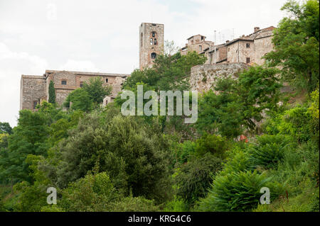 Bell tower of Concattedrale dei Santi Alberto e Marziale (Cathedral of Saints Albert and Martial) in Historic Centre - Stock Photo