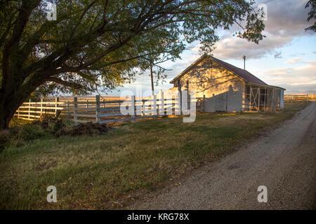 Trail to horse barn in Nevada's high desert. - Stock Photo