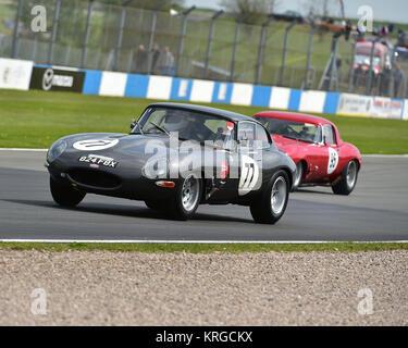 Tim Whitworth, Jaguar E-Type, Jaguar Classic Challenge, pre-66 Jaguar Cars, Donington Historic Festival, 2017, motor - Stock Photo