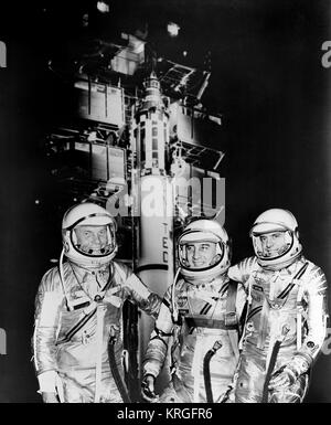 1961 -- The first three Americans in space, Mercury astronauts, from the left, John H. Glenn Jr., Virgil I. (Gus) - Stock Photo