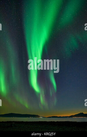Aurora Borealis, Northern Lights from Russelv, Lyngen, Troms, Norway - Stock Photo