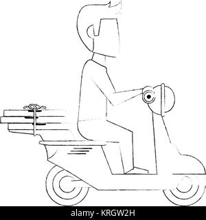 Courier on scooter cartoon - Stock Photo