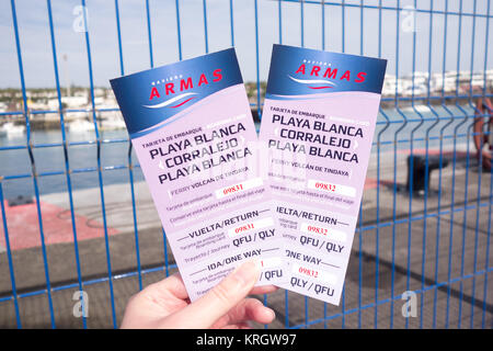LANZAROTE, SPAIN -  7th Nov 2017: Two return tickets issued by Naviera Armas for a return ferry trip between Playa - Stock Photo