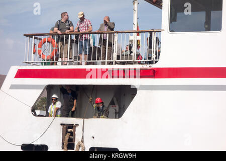 LANZAROTE, SPAIN-7th Nov 2017: Passengers on board the Naviera Armas ferry with engineers working below travels - Stock Photo